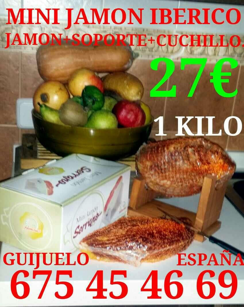 Imagen mini jamon iberico +soporte+cuchillo. 27€ guijuelo salamanca. se envía a cualquier lugar de españa cantidades mínima