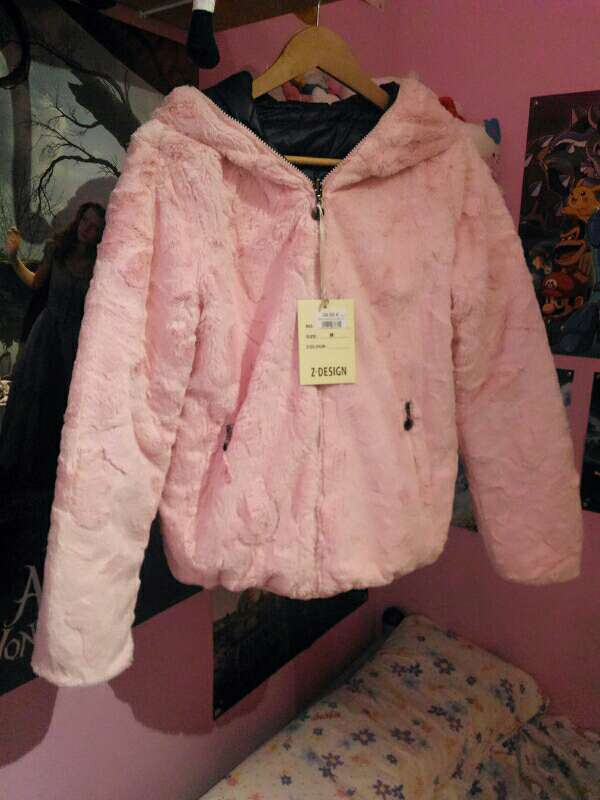 Imagen Chaqueta cazadora abrigo de pelo rosa reversible