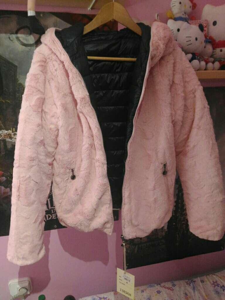 Imagen producto Chaqueta cazadora abrigo de pelo rosa reversible 2