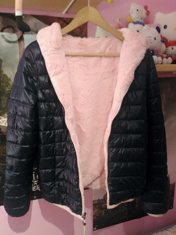 Imagen producto Chaqueta cazadora abrigo de pelo rosa reversible 3
