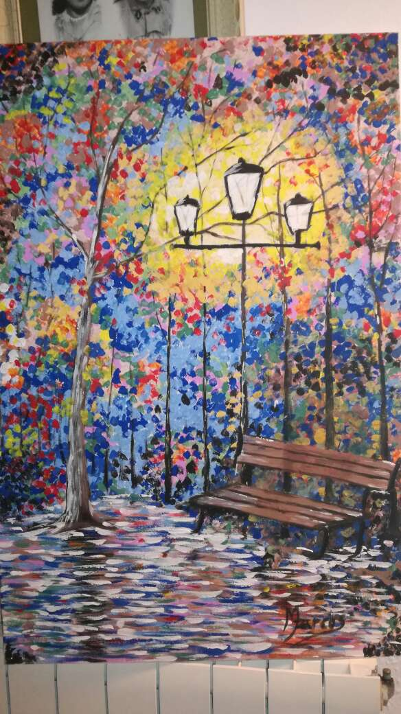 Imagen cuadro paisaje con pintura acrylica