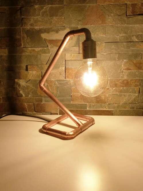 Imagen producto Lámpara Vintage de cobre diseño industrial, hecho a mano, original. 5
