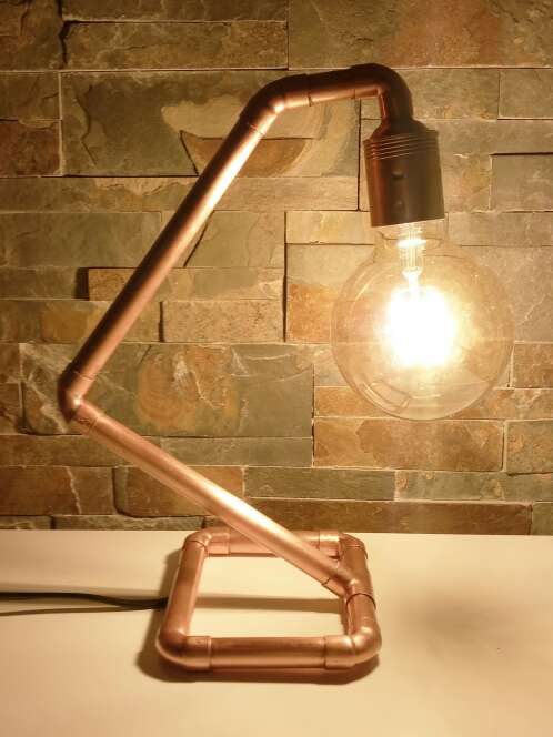 Imagen producto Lámpara Vintage de cobre diseño industrial, hecho a mano, original. 4