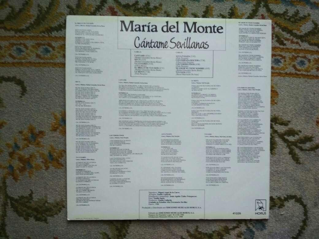 Imagen producto Vinilo María del Monte cántame sevillanas 4