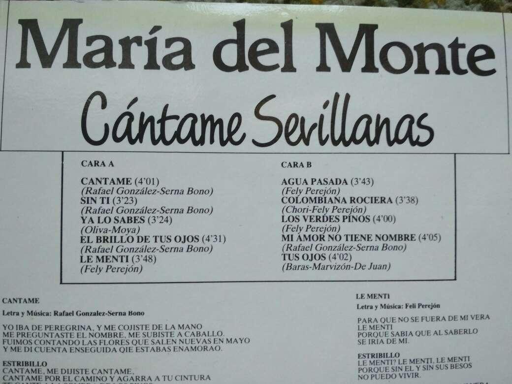 Imagen producto Vinilo María del Monte cántame sevillanas 3