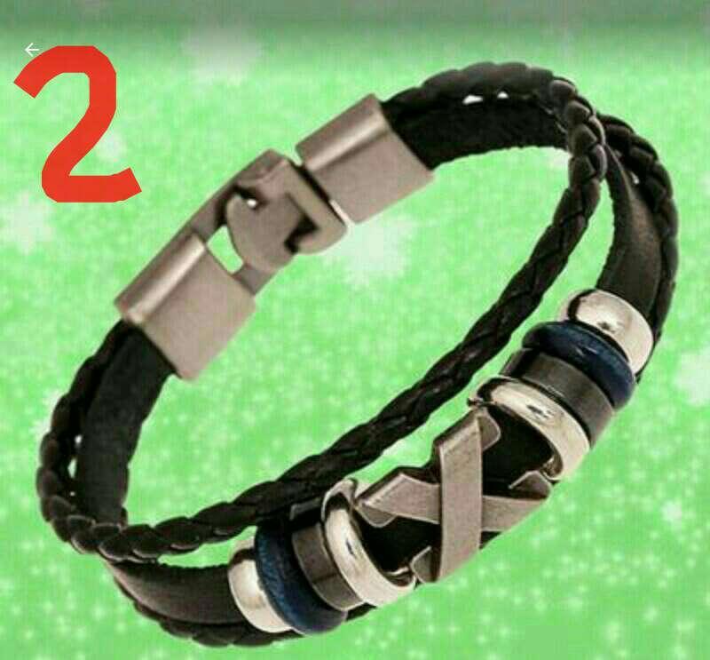 Imagen pulsera cuero y metal unisex