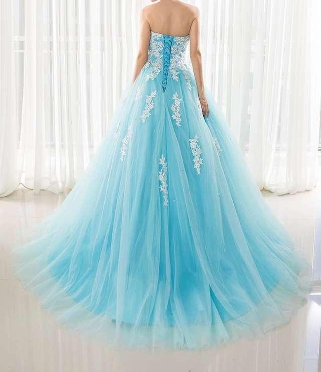 Imagen producto Vestido de Quinceañera o fiesta azul turquesa  2