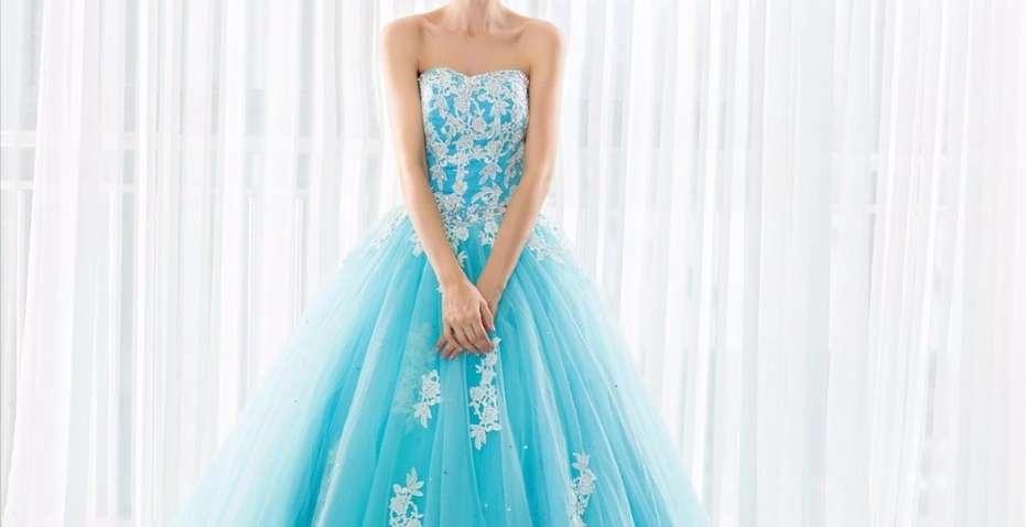 Imagen producto Vestido de Quinceañera o fiesta azul turquesa  3