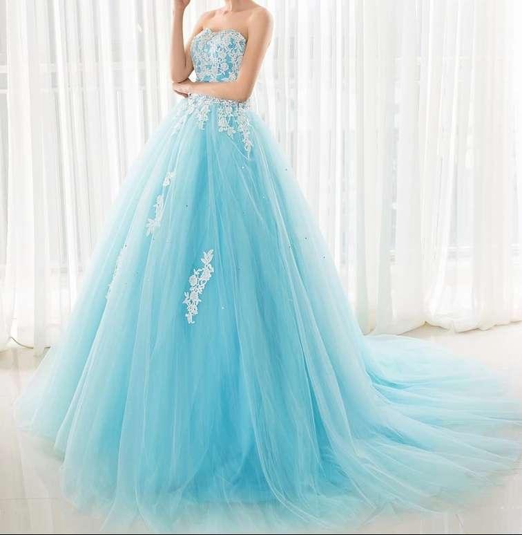 Imagen producto Vestido de Quinceañera o fiesta azul turquesa  5