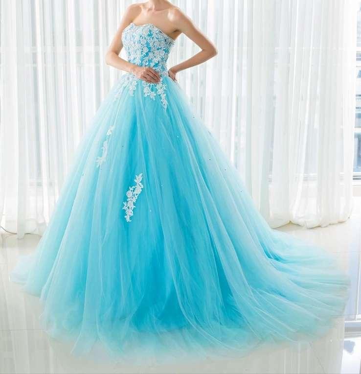 Imagen Vestido de Quinceañera o fiesta azul turquesa