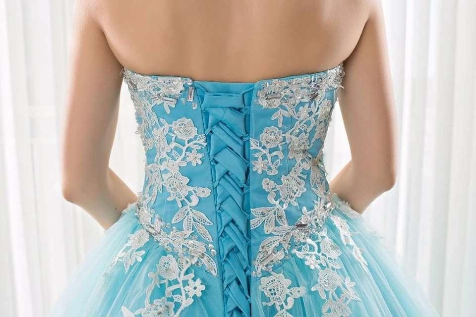 Imagen producto Vestido de Quinceañera o fiesta azul turquesa  4