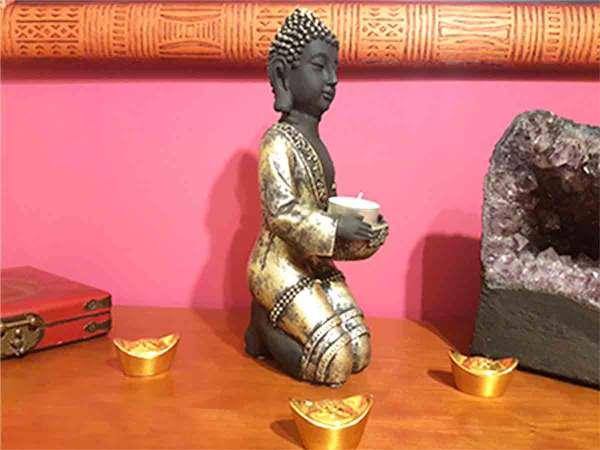 Imagen producto Buda Portavelas 28 cm color oro 1