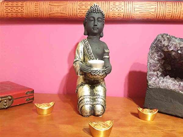 Imagen producto Buda Portavelas 28 cm color oro 2