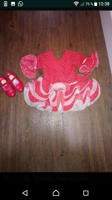 Imagen Vestido flamenca para niña y zapatos, talla 2 años