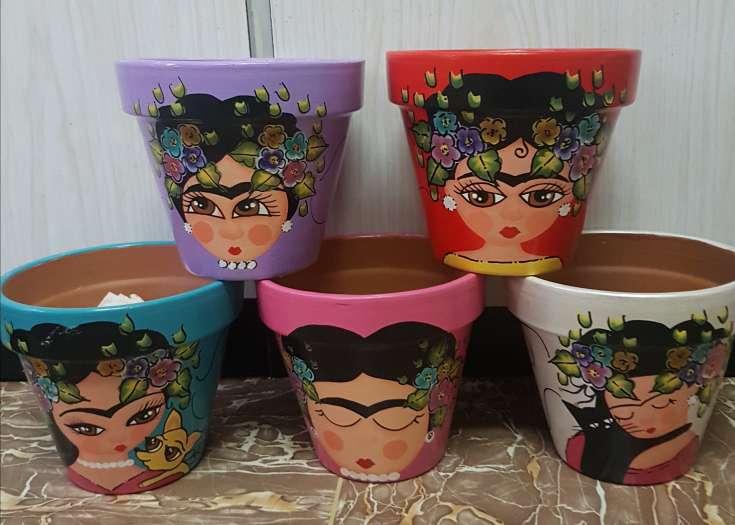 Imagen producto Macetas de frida kahlo pintadas a mano 3