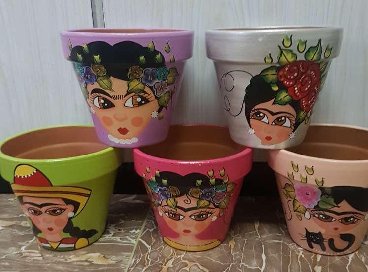 Imagen producto Macetas de frida kahlo pintadas a mano 2