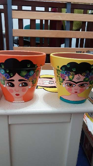 Imagen producto Macetas de frida kahlo pintadas a mano 6
