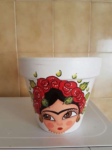 Imagen producto Macetas de frida kahlo pintadas a mano 7