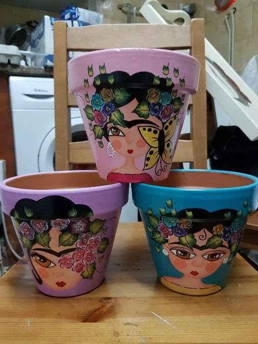 Imagen producto Macetas de frida kahlo pintadas a mano 10