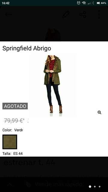 Imagen producto Abrigo Springfield verde t. 44 nuevo 2