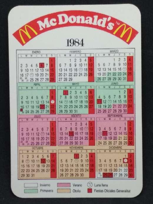 Imagen producto Calendario de McDonald's de 1984  2