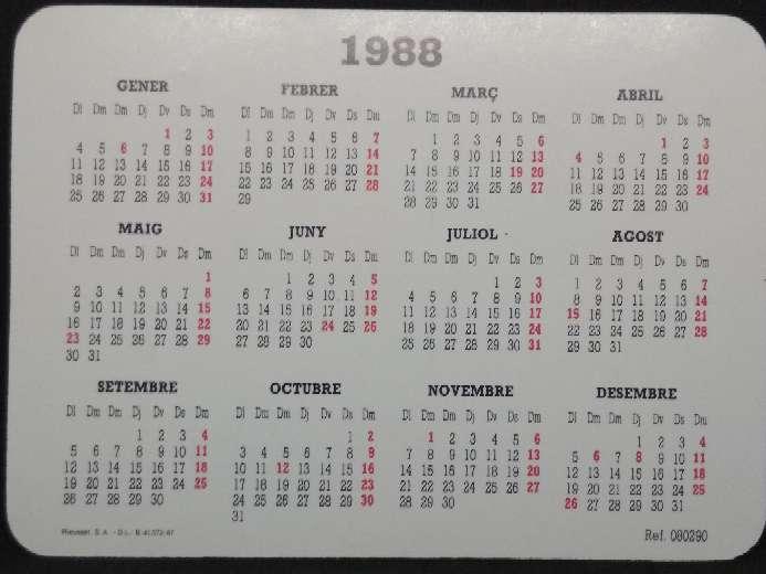 Imagen producto Calendario de la Caixa de Barcelona de 1988  2