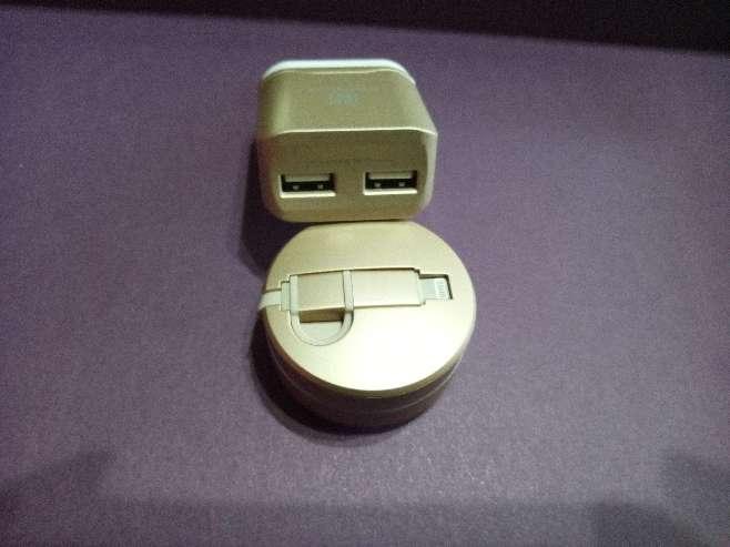 Imagen Original regalo Dia de la Madre cargador y cable retráctil viaje dos dispositivos