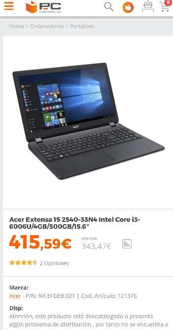 Imagen acer EX2540-336B negociable