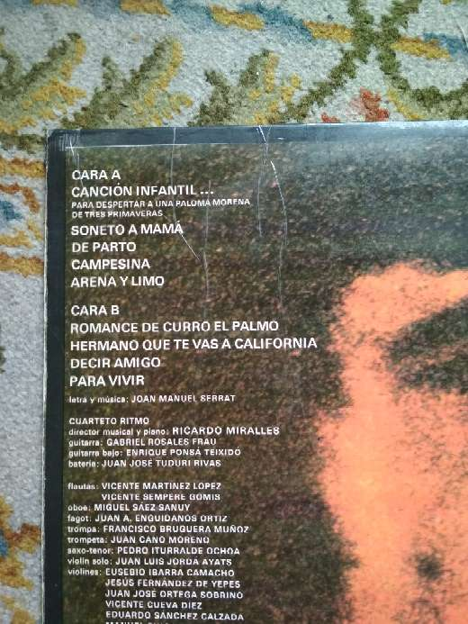Imagen producto Vinilo Joan Manuel Serrat, Decir amigo 3