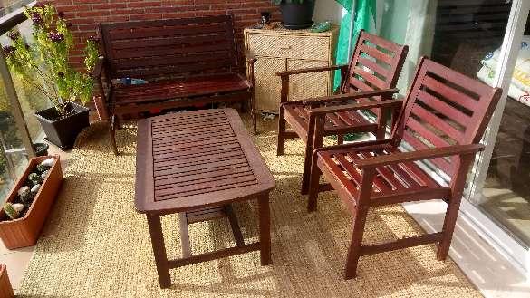 Imagen Conjunto de banco dos sillones y mesa de terraza.
