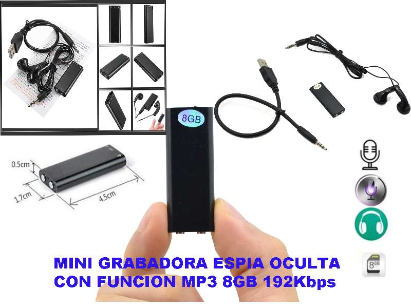 Imagen Mini grabadora 8gb profesional dictafono mp3.