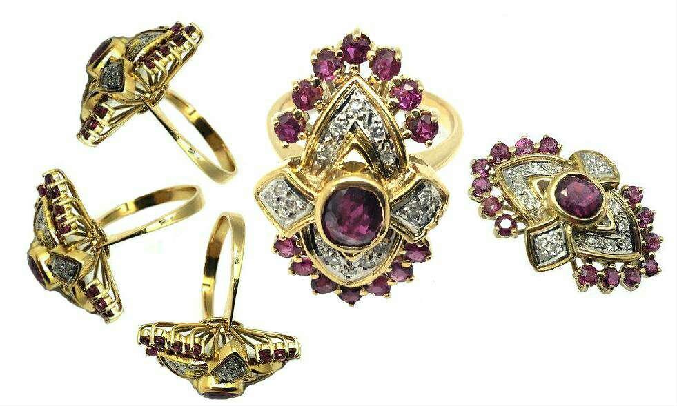 Imagen anillo de oro 18k,diamantes y rubies