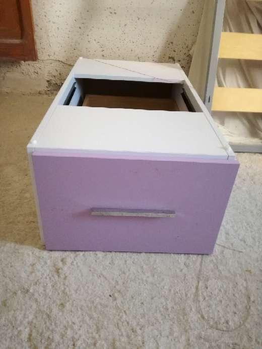 Imagen Cama de niña blanco-lila con 3 cajones bajo la cama