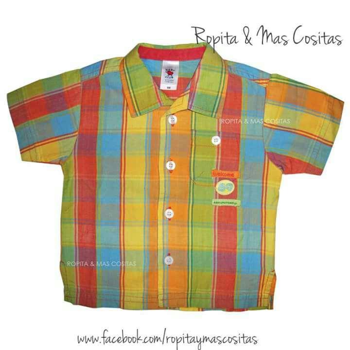 Imagen camisa niño cuadros de colores
