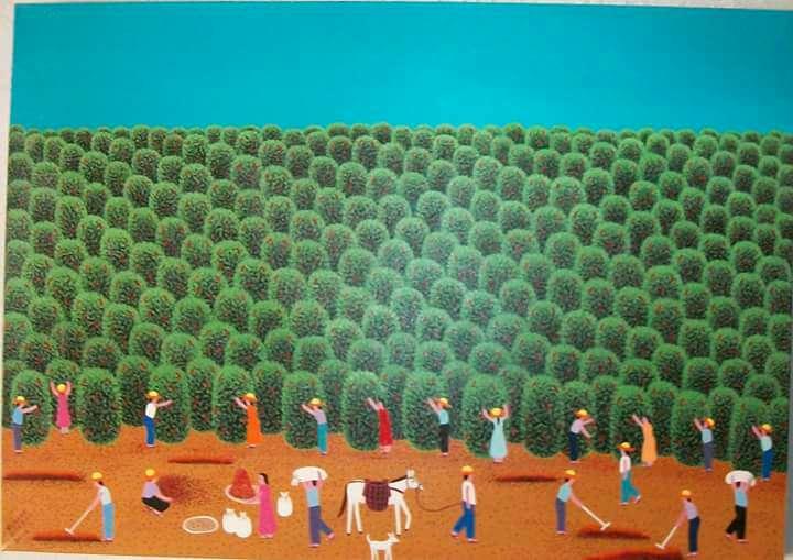 Imagen Robson Barros artista naif tela medida 50x70
