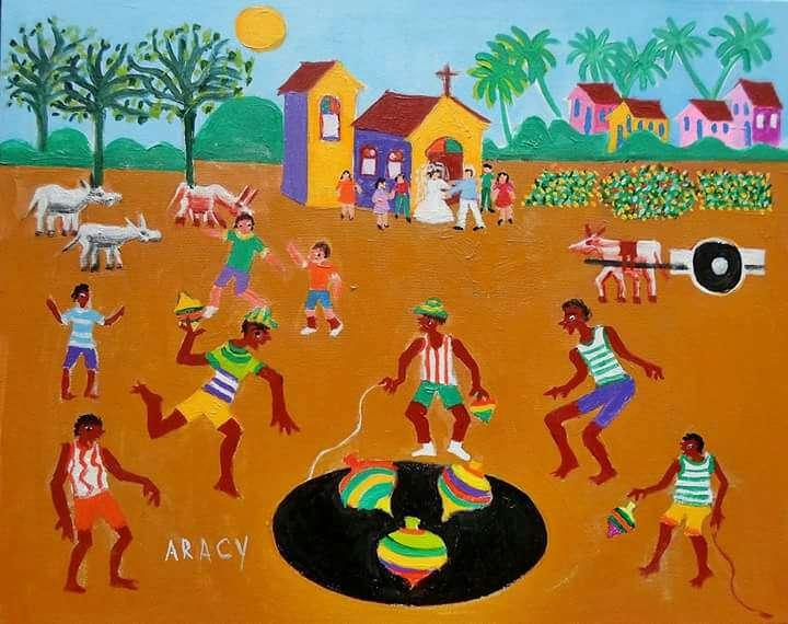 Imagen Aracy tema brincadeira de peão medida 50x40