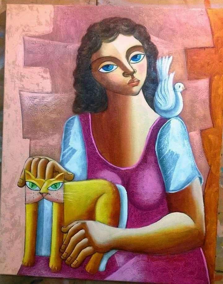 Imagen nando ribeiro tema mulher com gato medida 50x40