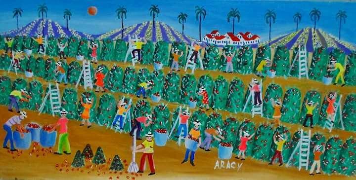 Imagen Aracy tema colheita de café medida 30x50