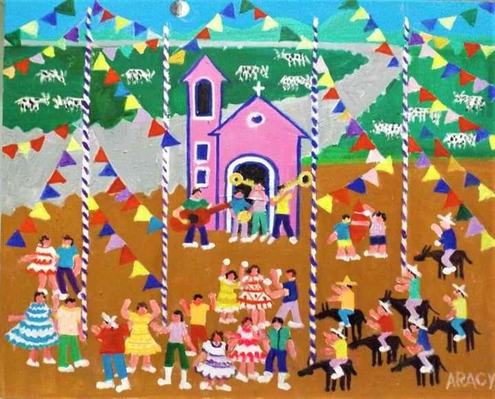 Imagen Aracy artista naif tema a festa junina medida 50x40