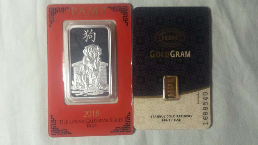 Imagen Lingote de oro puro 999 y plata pura 999 PAMP