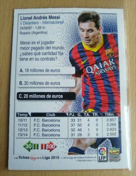 Imagen producto Messi cromo excelente 2