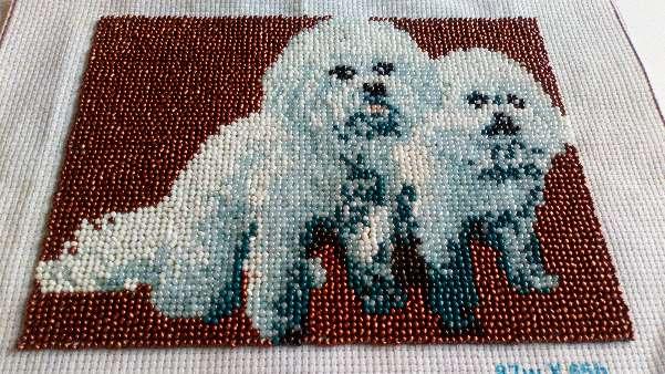 Imagen Cuadro de perritos con abalorios