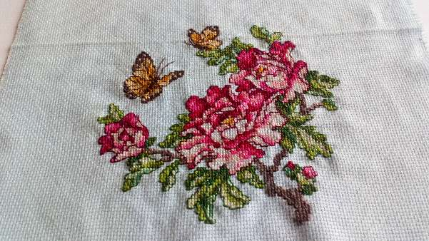 Imagen Cuadro de flores con maripositas