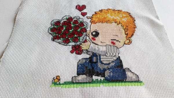 Imagen Cuadro de niño con ramo de rosas