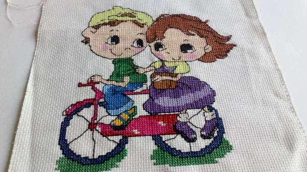 Imagen Cuadro de niños en bicicleta