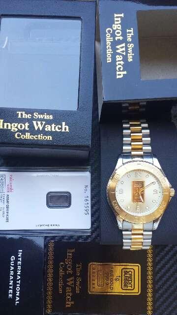 Imagen Reloj con lingote de oro puro 999