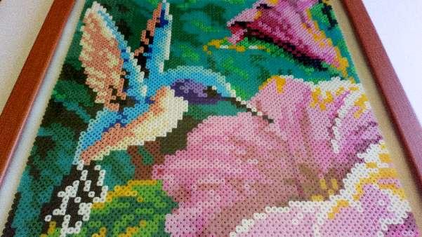 Imagen Cuadro de flores con pájaro