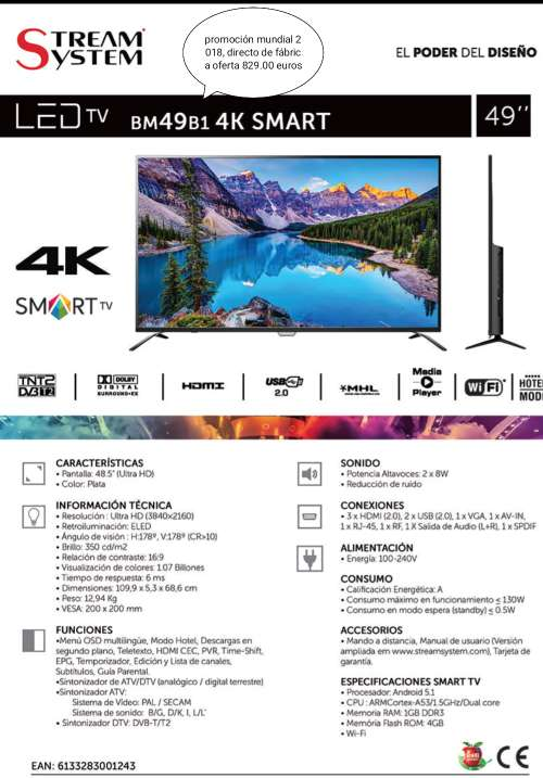 Imagen TV 49' 4k wifi