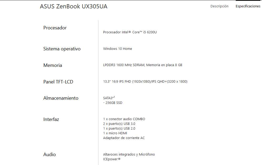 Imagen producto Ordenador Portátil Asus Zenbook UX305UA 4