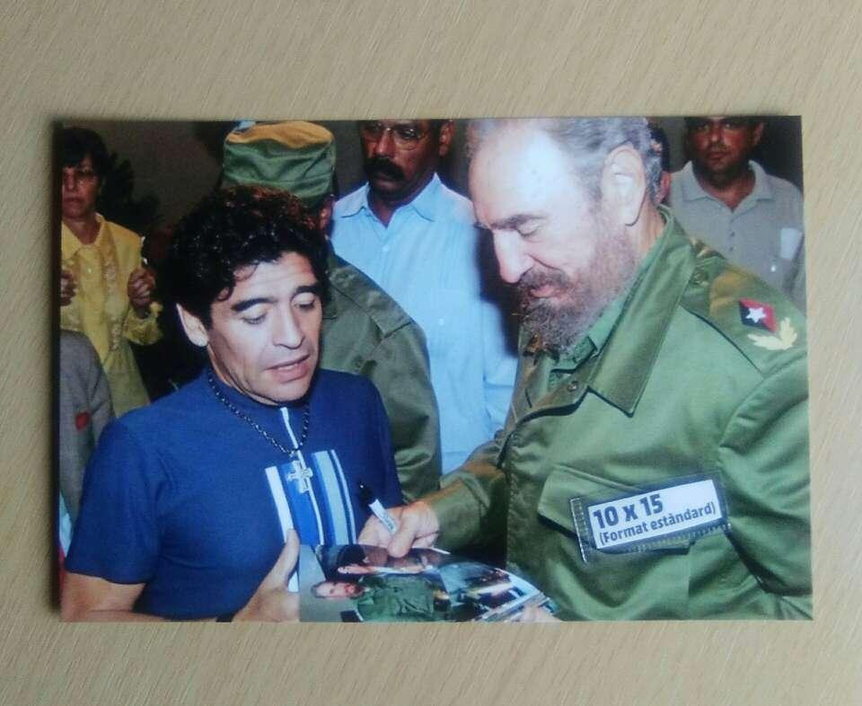 Imagen Fotografía Maradona y Fidel Castro.